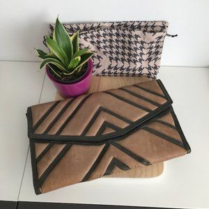 L.A.M.B Gray & Tan Leather Clutch Handbag NWT
